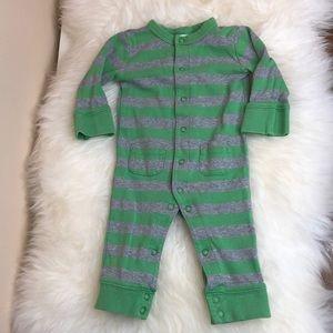 Mini Boden Gray and Green Striped Romper 3-6 mos